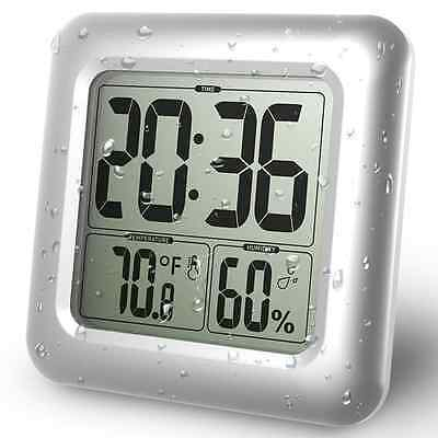 BALDR LCD Waterproof Shower Clock, Wall Mounted, Displays Time, Temperature, and