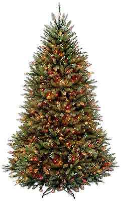 National Tree 7 1/2-Feet Dunhill Fir Tree, Hinged with 750 Multi-Colored Lights,