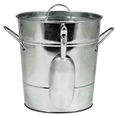 True Fabrications Twine Galvanized Steel Ice Bucket with Removable Lid and Ice S