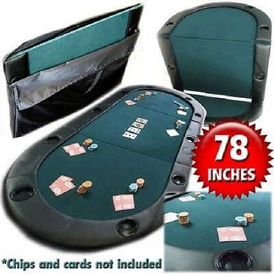 Trademark Poker Texas Hold'Em Folding Tabletop Foldable Portable W/ Cup Holders