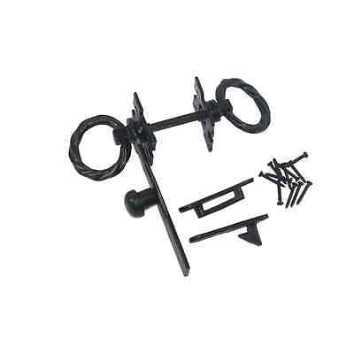 Nuvo Iron Antique Look Colonial Ring Latch Designed for Wood Gates, Doors - Blac