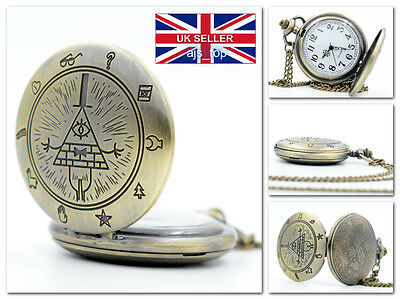 NEW GRAVITY FALLS Bill Cipher Pocket Watch Retro Vintage Western *UK Stock