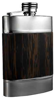 Visol Madera Wenge Exotic Wood Bonded on Stainless Steel Flask, 6-Ounce
