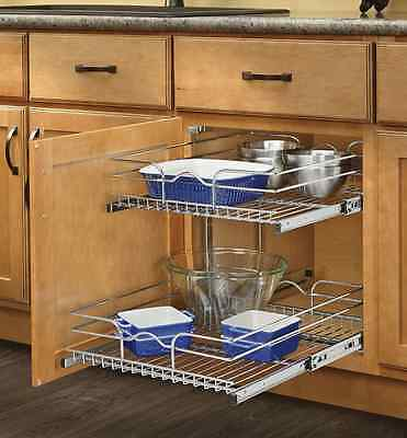 """Rev-A-Shelf 5WB2-1822-CR 18"""" W X 22"""" D Base Cabinet Pull-Out Chrome 2-Tier Wire"""
