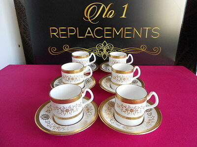 6 x Coalport Lady Anne Gold White Coffee Cans Cups and Saucers Set