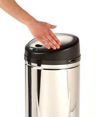 Honey-Can-Do TRS-01200 Stainless Steel Round Sensor Trash Can, Chrome, 36-Liter