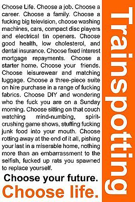 Trainspotting Classic British Movie Poster Print in A0-A1-A2-A3-A4-A5-A6 713