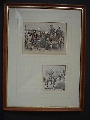 FRAMED JORROCKS FOX HUNTING PRINTS c 1852 - JOHN LEECH -  ENGRAVINGS
