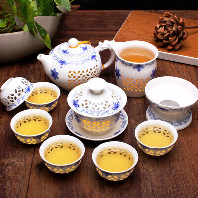 Chinese tea pot porcelain kung fu tea set tea cups gaiwan ceramic pitcher tureen