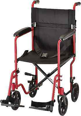 NOVA Medical Products 319 Steel Transport Chair, 19-Inch, Red
