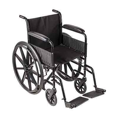 DMI Transport Chair Travel Wheelchair with, Silver and Black