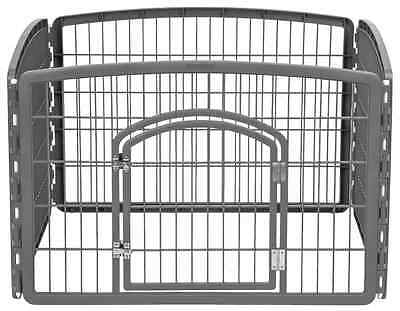 IRIS Plastic Exercise/Containment Pet Pen for Dogs, 4-Panel, Dark Gray