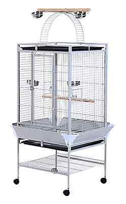 """PawHut D10-016 63"""" Large Bird Parrot Cage Stand Finch Feeder Play Top House Perc"""