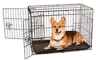 Carlson Pet Products Compact and Secure Double Door Metal Dog Crate, Medium
