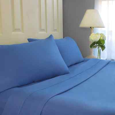 Cozy Bed 4 Piece Microfiber Sheet Set with 3m Scotchgard Protection, Blue, Queen