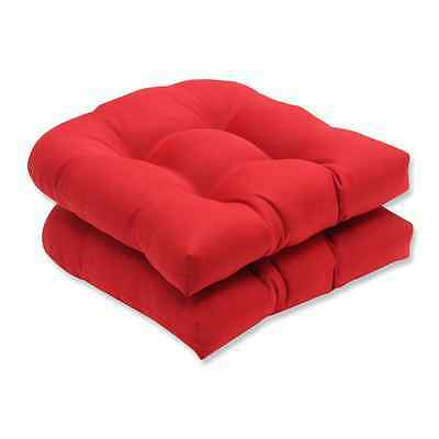 Pillow Perfect Set of 2 Outdoor Pompeii Solid Wicker Seat Cushions, Red