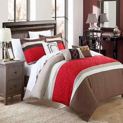 Chic Home Corrine 6-Piece Embroidered Comforter Set, King, Brown