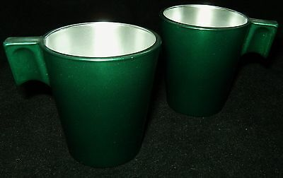 Lot of 2 Vtg Heavy Green Painted On Glass Shot Glasses w/ Handles FRANCE