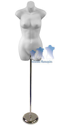 "Female 3/4, White and Tall adjustable Mannequin Stand with 8"" Round Base"
