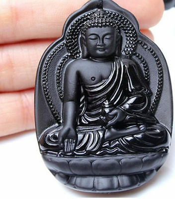 100% Natural Hand-carved Chinese black Jade pendant carving Great Sun Buddha
