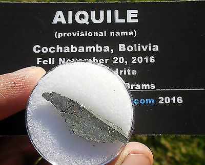 "1st on eBay!  1.24g  ""Aiquile"" Meteorite slice from Nov 20, 2016 fall in Bolivia"