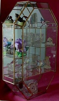 CLEAR Glass Brass and Mirror back CURIO CABINET for small Figurines