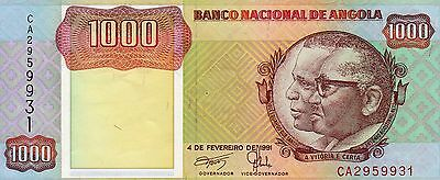 B036 World Collector Notes Rare Angola 1000 Kwanzas 1991 Signature 17 Beautiful