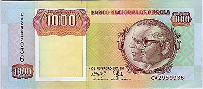B040 World Collector Notes Rare Angola 1000 Kwanzas 1991 Signature 17 Beautiful