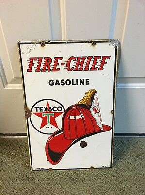 1947 Porcelain Texaco Fire Chief Gas Oil Advertising Sign