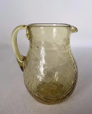Vintage Translucent Yellow Blown Crackle Glass Applied Handle Small Pitcher Vase