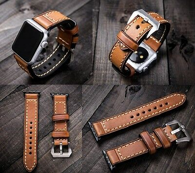 For Apple Watch Series 2 3 4 42/44mm Brown Leather Watch Strap Band Black Silver