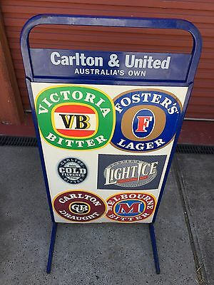 Carlton And United Beer Alcohol Advertising Metal Frame Sign