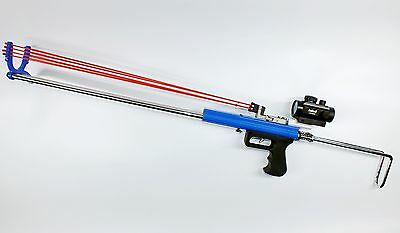 Rabbit Hunting Catapult Rifle - Driving force by Rubber Bands Tubes - Blue Color