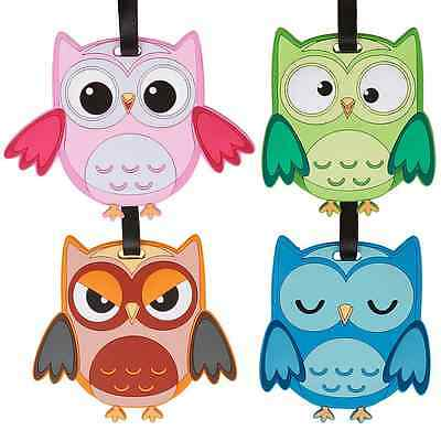 Bundle Monster 4pc Fun Mixed Owl Design Silicone Luggage ID Bag Tags - Set 5: Wh