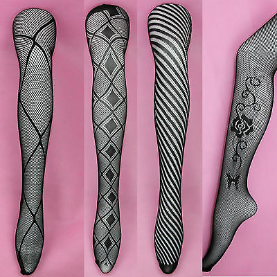 Lingerie Lace Footed Fishnet Mesh Stockings Tights Pantyhose Jacquard Women Sex