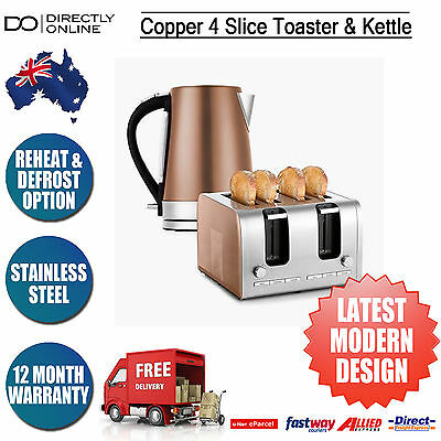 Copper 4 Slice Toaster & 1.7L Kettle Stainless Steel Kitchen Applicance Set New