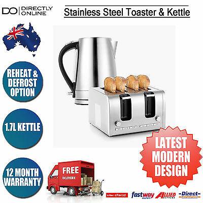 Stainless Steel 4 Slice Toaster & 1.7L Kettle Kitchen Applicance Gift Set New