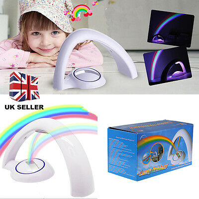 Romantic LED Rainbow Projector Colourful Night Light Lamp For Kid Child Bedroom