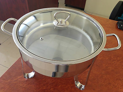 Bain Marie 6.4L Litre Stainless Steel Chafing Dish w/ Glass Lid Food Warmer