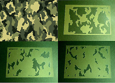 NEW T12 AIRBRUSH STENCILS MILITARY CAMOUFLAGE TEXTURE PLATE Paint Template Camo