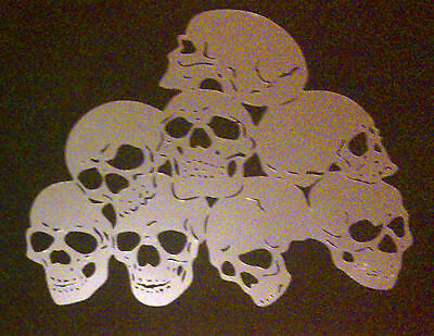 NEW S6  8 SKULLS ZOMBIES Airbrush Stencil Mask Template Textile Paint Craft A4