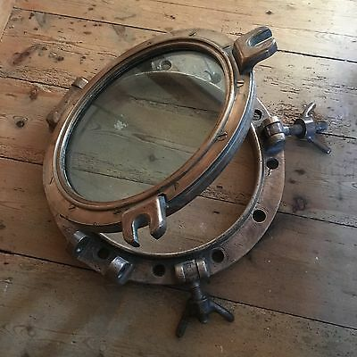 A Large Antique Bronze And Brass Ships Porthole Port Hole Stunning Condition