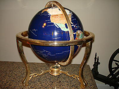 Unique Art 20-Inch tall  with 13-Inch Wold Globe table top  Blue Lapis Gemstone