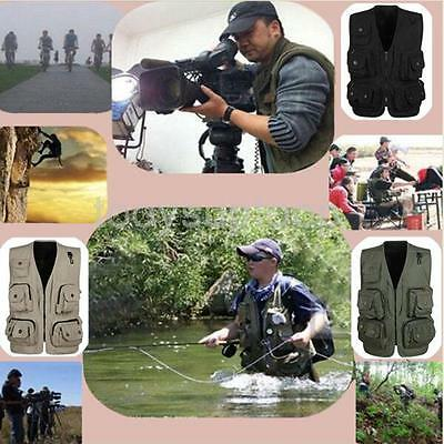 Men's Multi Pocket Mesh Vest Utility Waistcoat Fly Fishing Bird Hunting Director