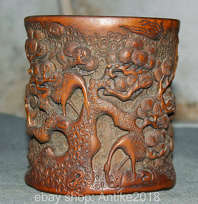 13CM Chinese Bamboo Hand Carved Dynasty Pine Tree Crane Brush Pot Pencil Vase
