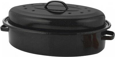 Vitreous Enamel Self Basting Roaster with Lid 36cm Easy Clean Cooking Casserole