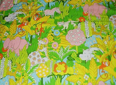 HUGE Piece 46x132 VTG House N Home Jungle Themed Childrens Fabric Bright Colors