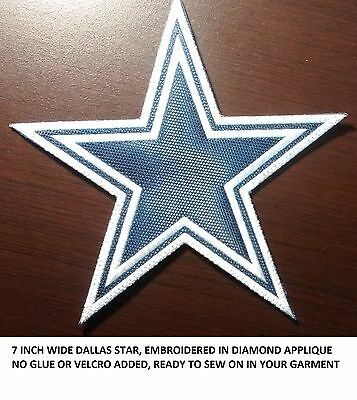 ***LOVE IT OR ITS FREE*** 7IN. DALLAS STAR embroidered patch SEW ON, FREE SHIP.