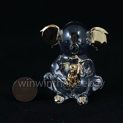 GOLDEN KOALA w BABY in tummy Hand Blown Glass Miniature Figurine GOLD TRIM