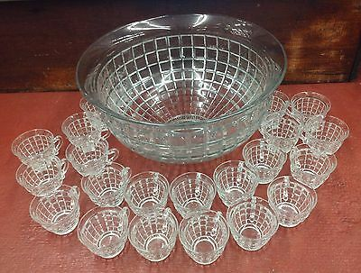 """Vintage Heisey """"victorian"""" 14 1/2"""" Glass Punch Bowl With 23 Cups #1425"""